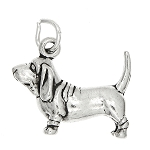 Sterling Silver 3d Chunky Basset Hound DOG Charm or Pendant
