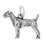 Sterling Silver Three Dimensional Airedale Dog Charm