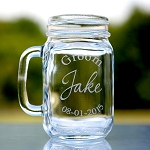 Personalized Wedding Party Groomsmen Glass Etched Mason Jar Mason Mug
