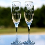 2 of Personal Wedding Party Gift Etched Engraved Personalized Mr. and Mrs. Bride and Groom Champagne Tall Flute Glasses