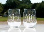 Total 2 of Personalized 17 oz. Steamless Wine Glass Water Glass