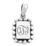 Sterling Silver Engravable Rectangle Pendant with Beaded Trim