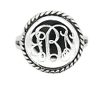Sterling Silver Personalized Engravable Rope Trim Rope Edged Round Signet Ring
