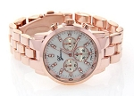 Women's Fancy Boyfriend Style Rose Gold Tone Chronograph Watch
