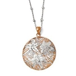 Sterling Silver Rose Gold Plated Satin Finish Flower Pattern Designed Necklace