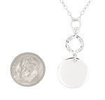 Sterling Silver Monogram Personalized Custom Engraved Circle Round Disc Pendant with Diamond Cut Curve Link Chain Necklace