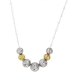 Sterling Silver Daimond Cut 2 Tone Add a Bead Floating Bead Necklace