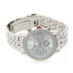 Women's Fancy Glitz Style Silver Tone Chronograph Mid Sized Watch