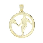10kt Yellow Gold One Sided Cut Out Tennis Player Charm Pendant