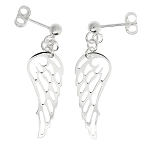 Sterling Silver Dangling Angel Wing Earrings