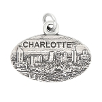 Sterling Silver Oxidized Travel Charlotte North Carolina Charm Pendant