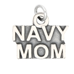 LGU® Sterling Silver Oxidized Navy Mom Charm (With Options)