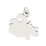 LGU® Sterling Silver Plain Outline Antigua Map with Heart Cut Out St. John's Charm (With Options)