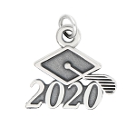 LGU® Sterling Silver Oxidized Class of 2020 Graduation Cap Charm (With Options)