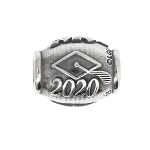 LGU® Sterling Silver Oxidized Class of 2020 Graduation Bead