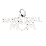 Sterling Silver One Sided Basketball Mom Charm