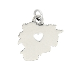 LGU® Sterling Silver Plain Outline Andorra Map with Heart Cut Out Charm (With Options)