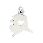 LGU® Sterling Silver Plain Outline Alaska Map with Heart Cut Out Charm (With Options)
