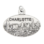 LGU® Sterling Silver Charlotte North Carolina Oval Charm (with Options)
