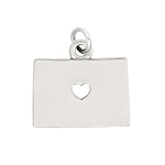 LGU® Sterling Silver Plain Outline Colorado Map with Heart Charm (with Options)