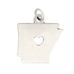 LGU® Sterling Silver Plain Outline Arkansas Map with Heart Cut Out Charm (With Options)