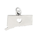 LGU® Sterling Silver Plain Outline Connecticut Map with Heart Cut Out Charm (With Options)