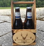Monogrammed Minature 4 Beers Rustic Wooden Beer Tote Wood Beer Caddy Groomsmen Gifts for Him Housewarming Gift