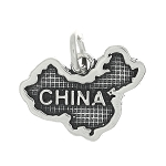 Sterling Silver Map of China Travel Charm