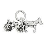 Sterling Silver Horse and Buggy Charm