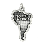 Sterling Silver Textured Continent Map of South America Charm