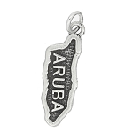 Sterling Silver Textured Country Map of Aruba Charm