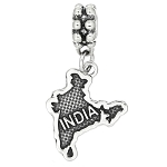 Sterling Silver Textured Country Map of India Dangle Bead Charm