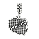 Sterling Silver Textured Country Map of Poland Dangle Bead Charm