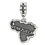 Sterling Silver Textured Country Map of Venezuela Dangle Bead Charm