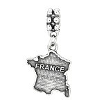 Sterling Silver Textured Country Map of France Dangle Bead Charm