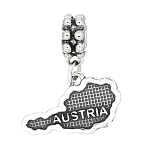 Sterling Silver Textured Country Map of Austria Dangle Bead Charm