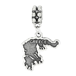 Sterling Silver Textured Country Map of Greece Dangle Bead Charm