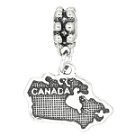 Sterling Silver Textured Country Map of Canada Dangle Bead Charm