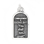 Sterling Silver Commandment 10 Exodus 20:17 Charm Pendant
