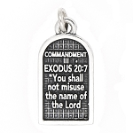 Sterling Silver Commandment 3 Exodus 20:7 Charm Pendant