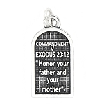 Sterling Silver Commandment 5 Exodus 20:12 Charm Pendant