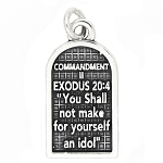 Sterling Silver Commandment 2 Exodus 20:4 Charm Pendant