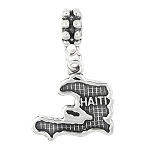 STERLING SILVER TEXTURED COUNTRY MAP OF HAITI DANGLE BEAD CHARM