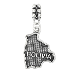 STERLING SILVER TEXTURED COUNTRY MAP OF BOLIVIA DANGLE BEAD CHARM
