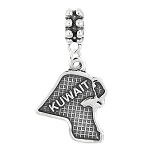 STERLING SILVER TEXTURED COUNTRY MAP OF KUWAIT DANGLE BEAD CHARM