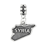 STERLING SILVER TEXTURED COUNTRY MAP OF SYRIA DANGLE BEAD CHARM