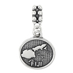 STERLING SILVER TEXTURED MAP OF FIJI ISLANDS DANGLE BEAD CHARM