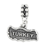 STERLING SILVER TEXTURED MAP OF TURKEY DANGLE BEAD CHARM