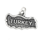 Sterling Silver Map of Turkey Travel Charm