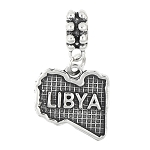 STERLING SILVER TEXTURED MAP OF LIBYA DANGLE BEAD CHARM